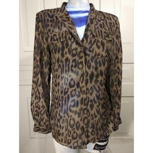 Chaps leopard cheetah animal print top shirt EUC